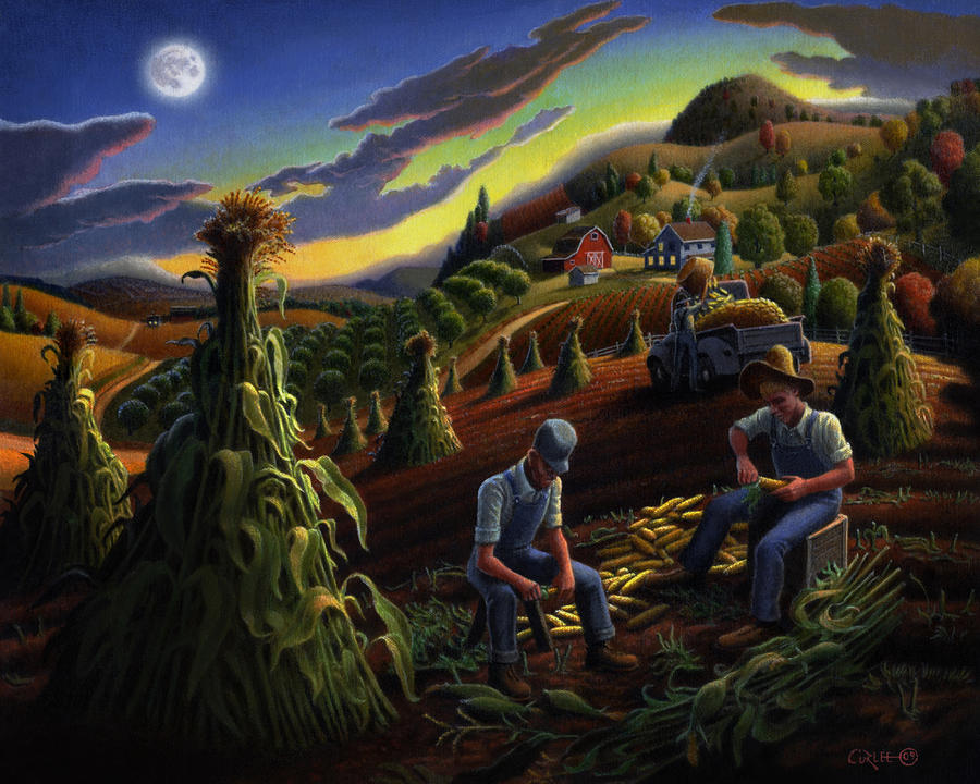 Autumn Farmers Shucking Corn Appalachian Rural Farm Country Harvesting Landscape - Harvest Folk Art Painting