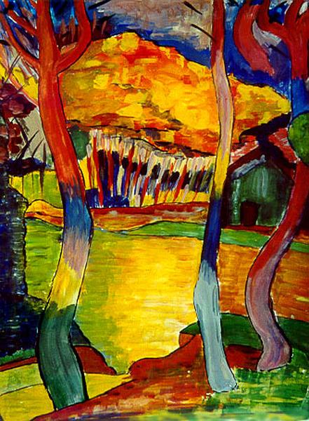 Forest Mauve /image Copyright � Anneke Hut/  Painting - Autumn Forest A La Fauve by Anneke Hut