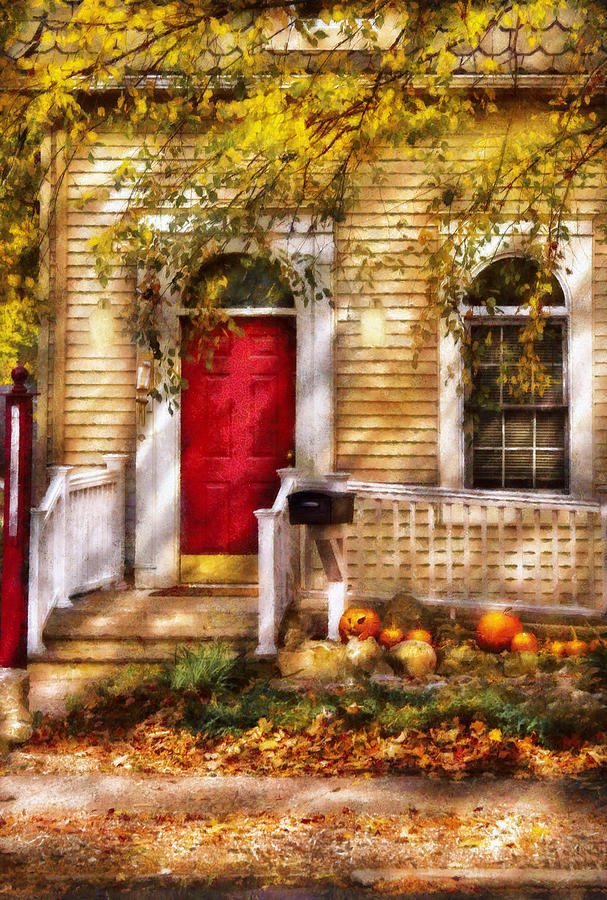 Savad Digital Art - Autumn - House - A Hint Of Autumn  by Mike Savad