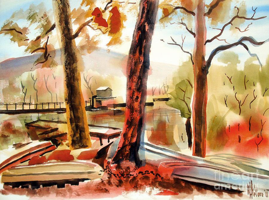Autumn Jon Boats Ii Painting - Autumn Jon Boats II by Kip DeVore