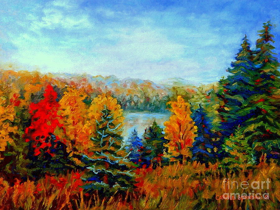 Autumn Landscape Quebec Red Maples And Blue Spruce Trees Painting