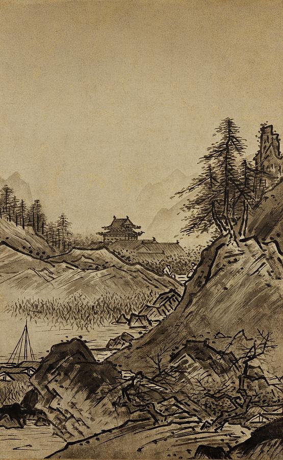 Autumn Landscape Sesshu Toyo 1496 Painting