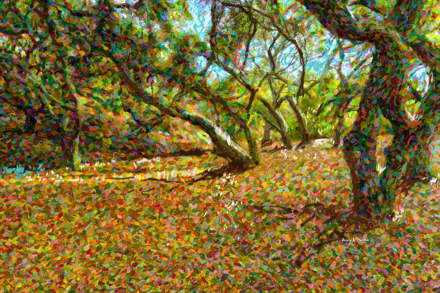 Autumn Oak Forest Painting  - Autumn Oak Forest Fine Art Print
