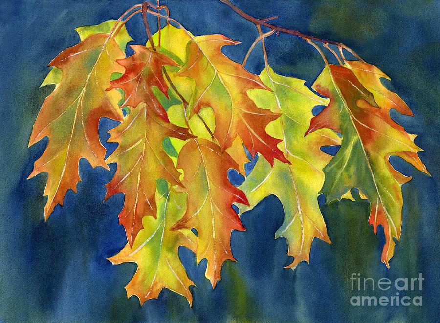 Oak Painting - Autumn Oak Leaves  On Dark Blue Background by Sharon Freeman