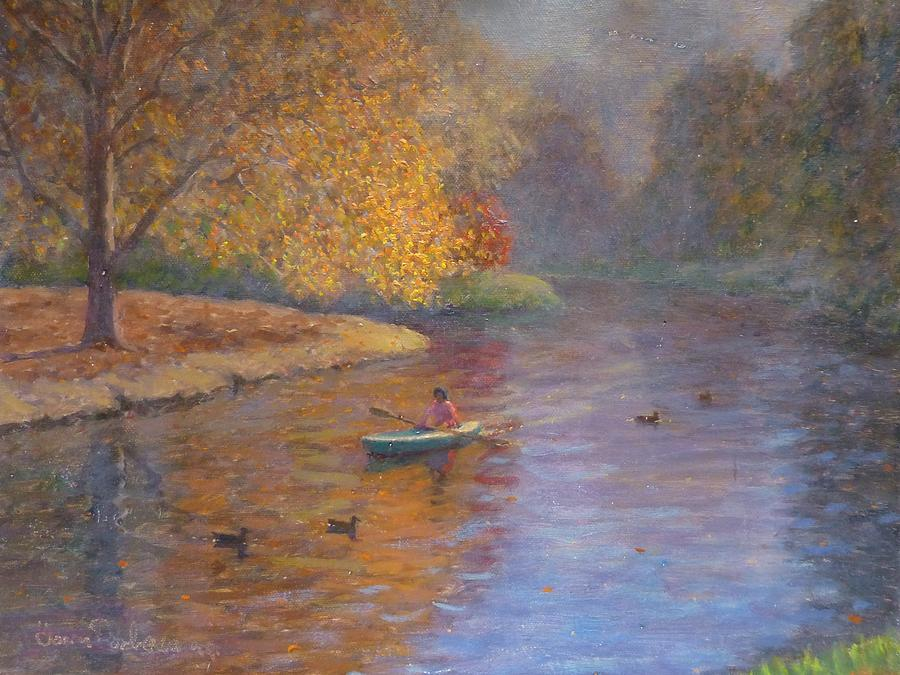 Autumn On Avon Nz. Painting  - Autumn On Avon Nz. Fine Art Print