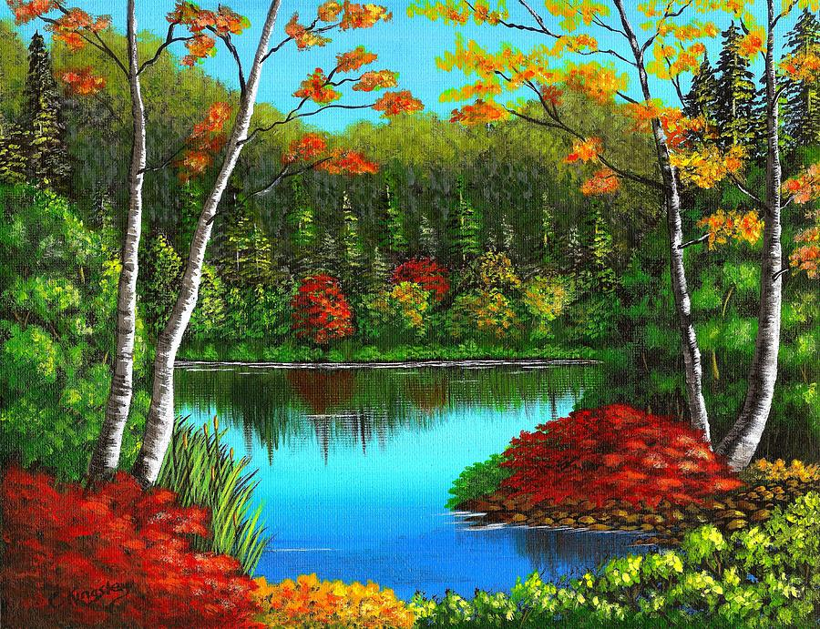 Cyndi Kingsley Art Painting - Autumn On The Water by Cyndi Kingsley