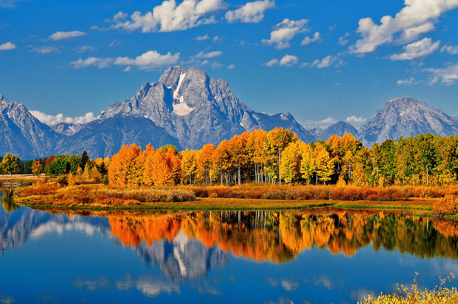 Autumn Peak at Oxbow Bend in Grand Teton National Park