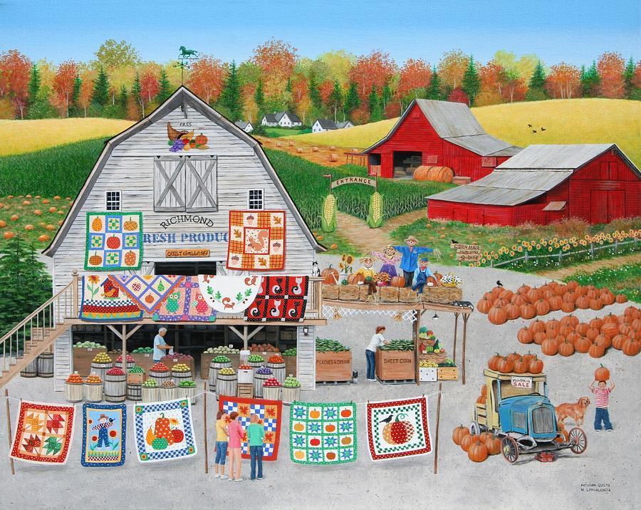 Folkart Painting - Autumn Quilts by Wilfrido Limvalencia