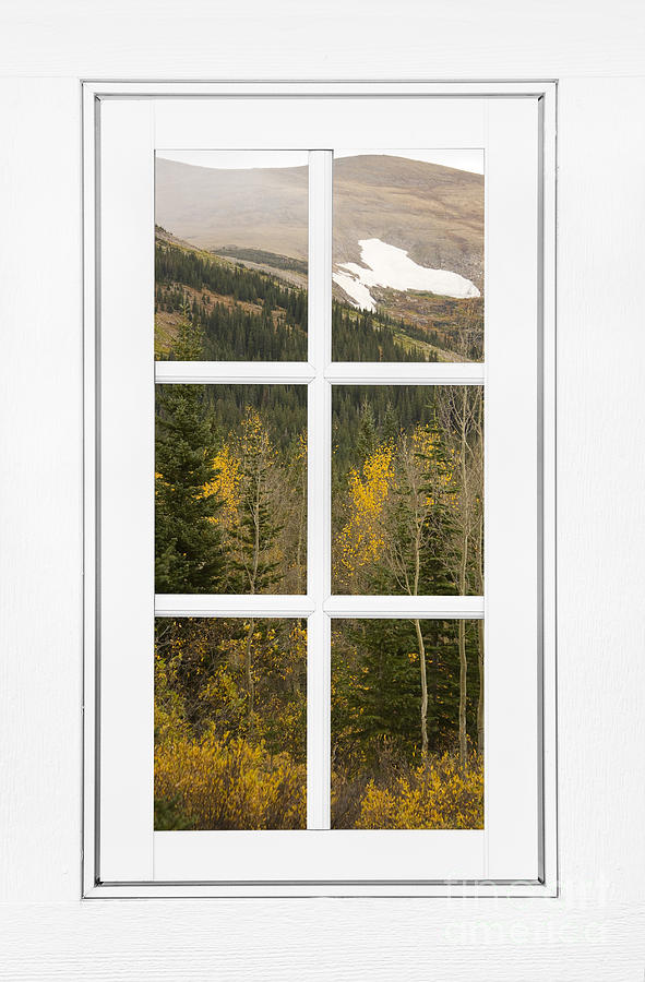Autumn Rocky Mountain Glacier View Through A White Window Frame  Photograph