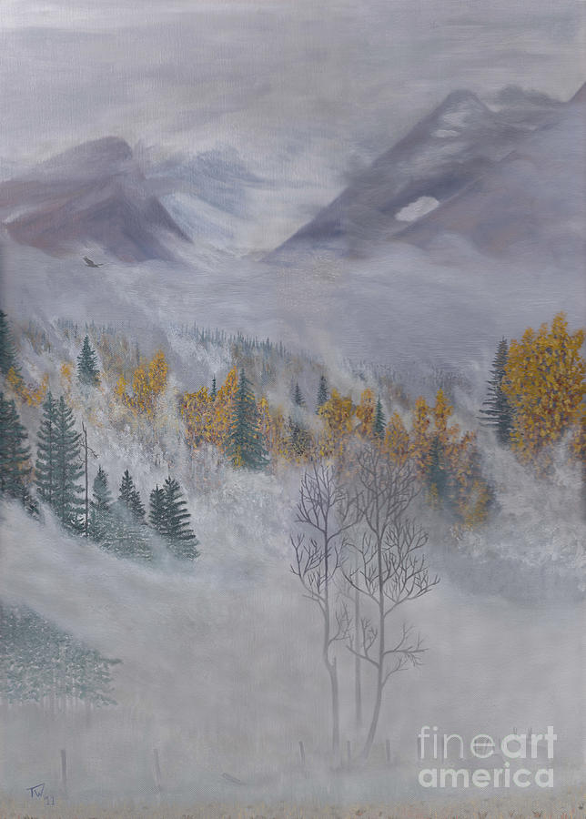 Autumn Valley Mist Painting  - Autumn Valley Mist Fine Art Print