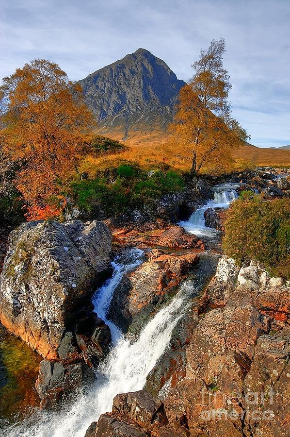 Autumn Photograph - Autumn View Of Buachaille Etive Mor And River Coupall Near Glencoe In Scotland by John Kelly