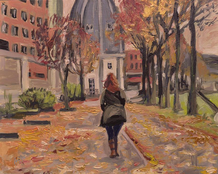 Autumn Walk To The Bonnefanten Painting by Nop Briex