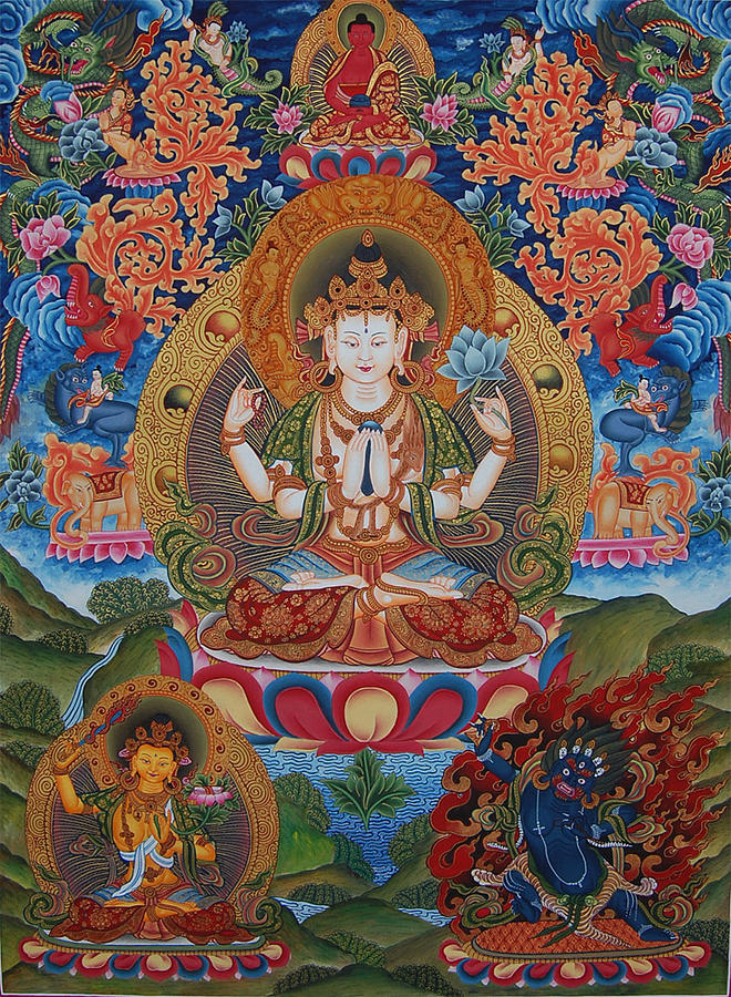 Meditation Painting - Avalokitesvara The Great Compassionate One by Art School