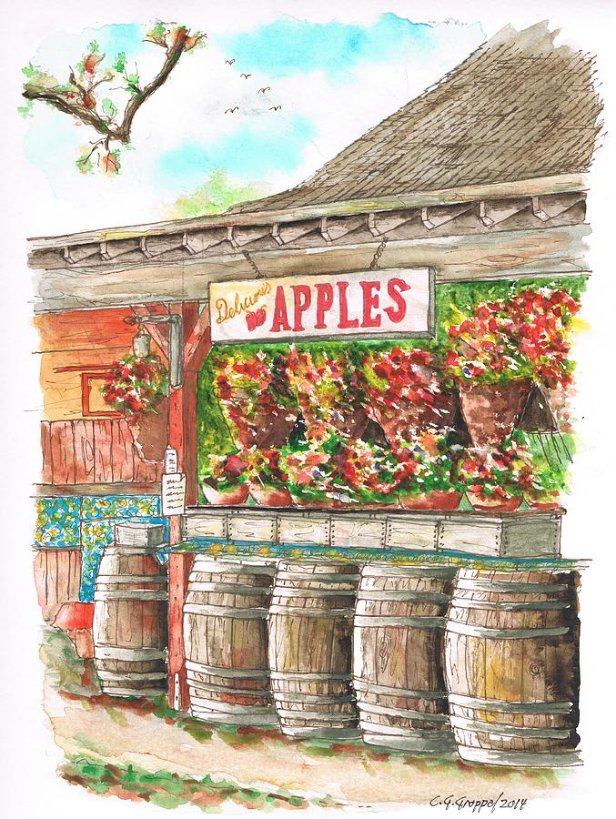 Avila Valley Barn With Delicious Apples Sign In Avila Beach - California Painting
