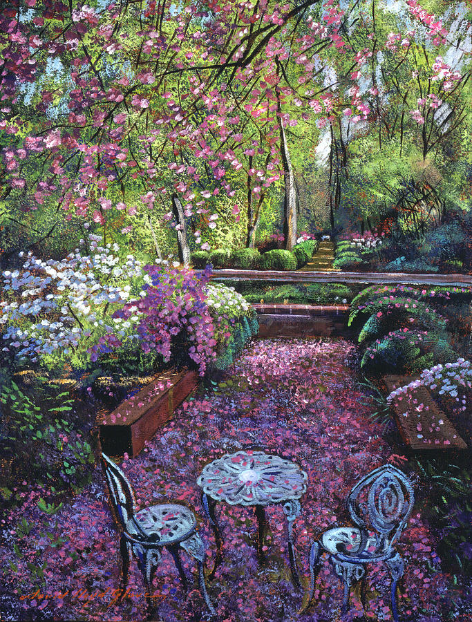 Azaleas And Cherry Blossoms Painting