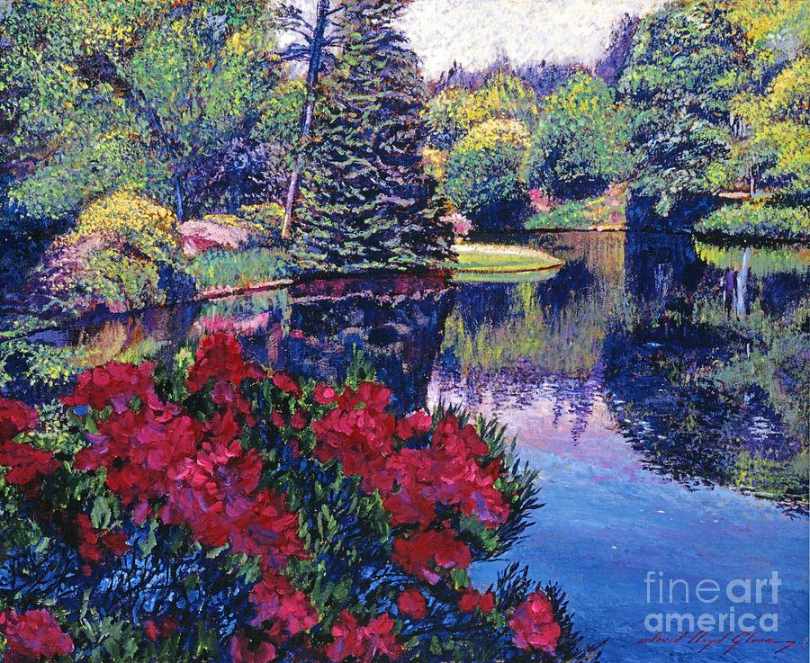 Landscape Painting - Azaleas In Spring by David Lloyd Glover