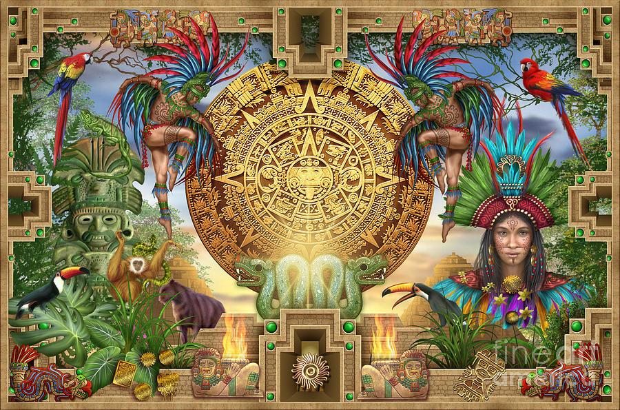Aztec Mayhem Montage Digital Art By Ciro Marchetti
