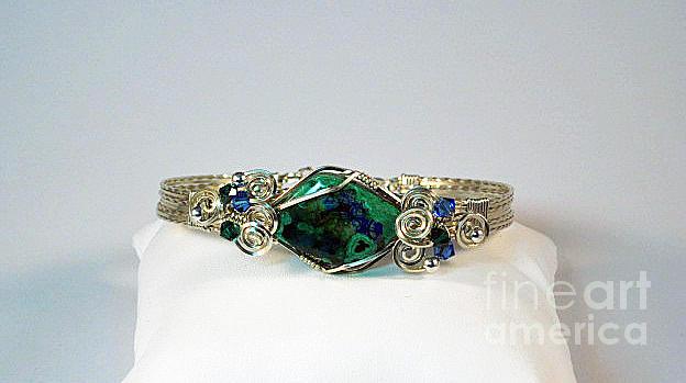 Azurite Malachite Natural Stone Bracelet In Sterling Jewelry