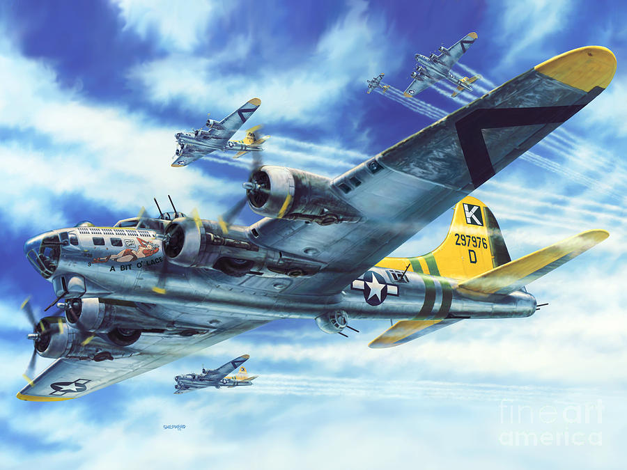 B-17g Flying Fortress A Bit O Lace Painting  - B-17g Flying Fortress A Bit O Lace Fine Art Print