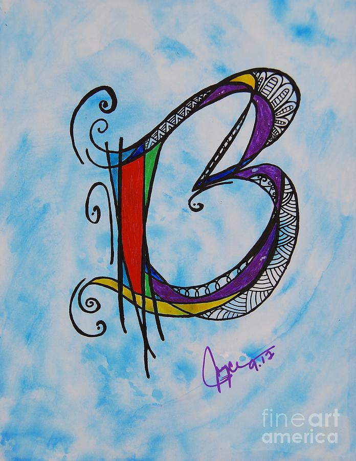 Ink Painting - b Monogram by Joyce Auteri
