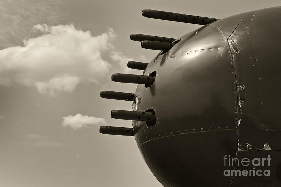 B25 Mitchell Bomber Airplane Nose Guns Photograph