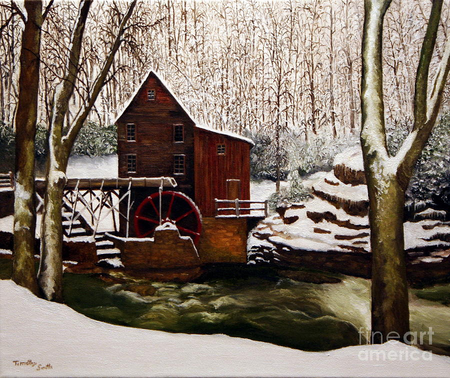 Landscape Painting - Babcock Mill In The Snow by Timothy Smith
