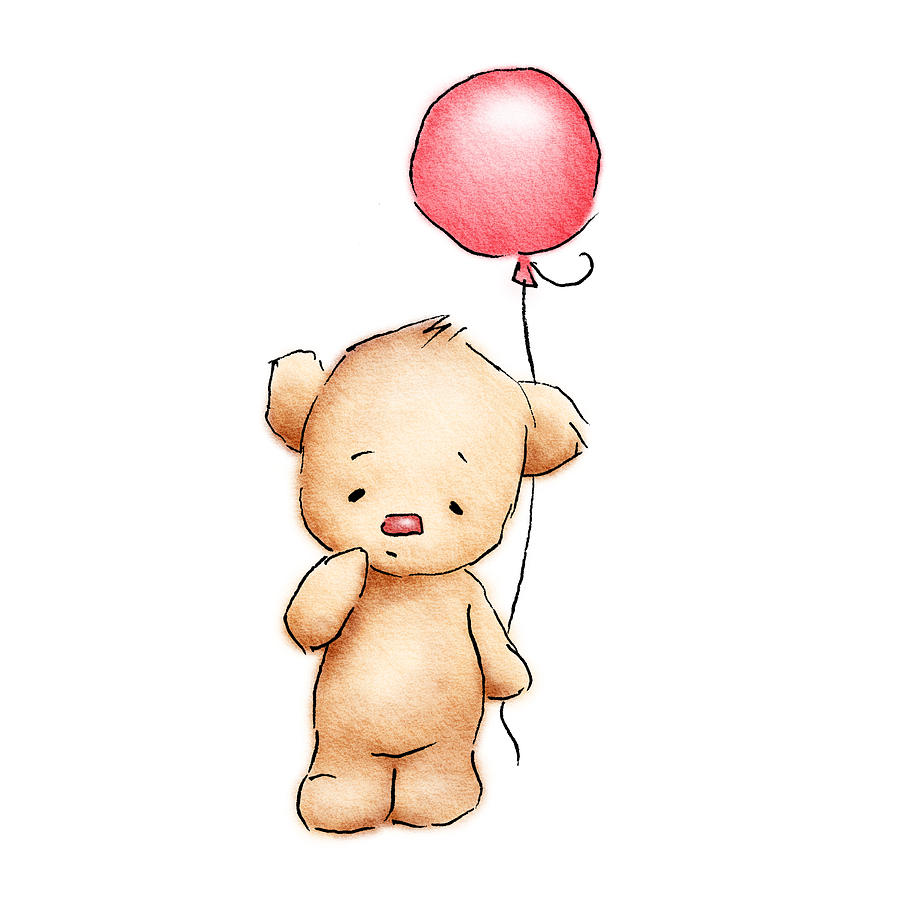 Baby Bear With Red Balloon Drawing  - Baby Bear With Red Balloon Fine Art Print