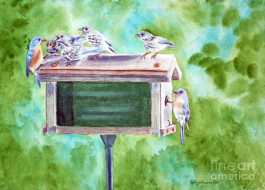 Watercolor Painting Painting - Baby Blues - Eastern Bluebird Family by Kathryn Duncan