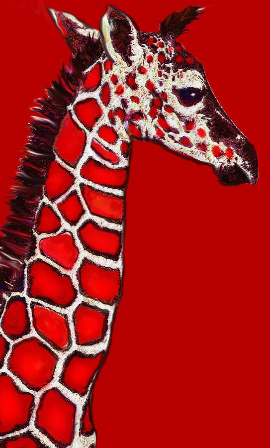 Baby Giraffe In Red Black And White Digital Art