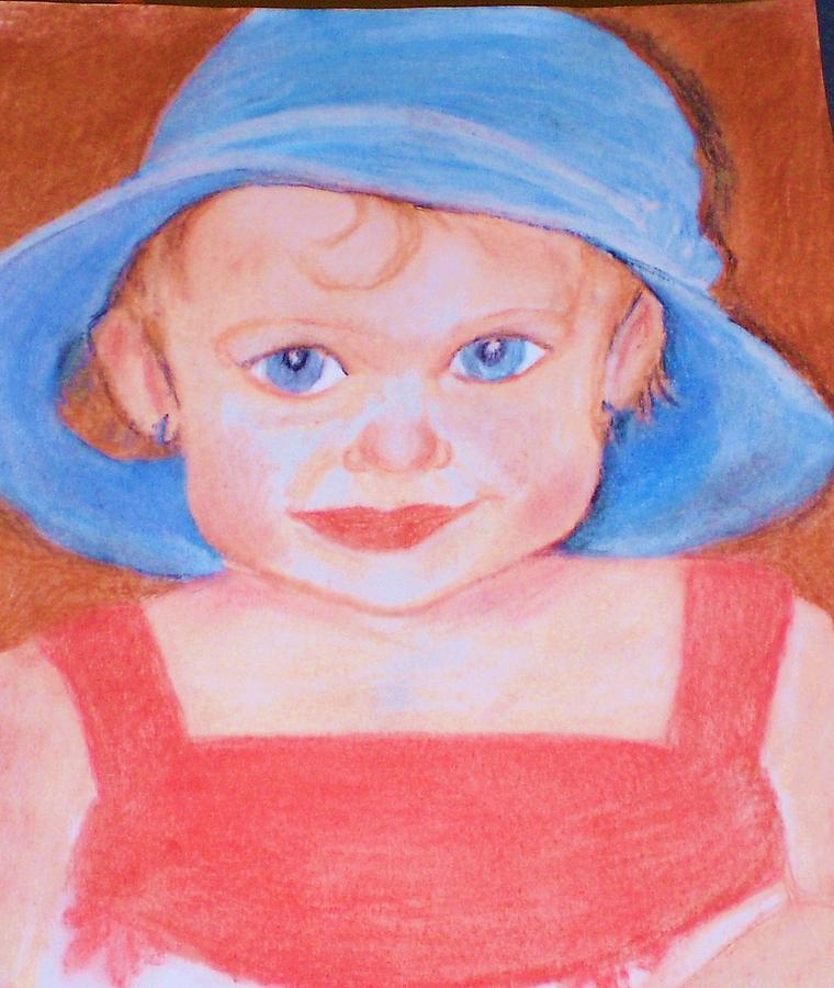 Baby In Blue Hat Pastel  - Baby In Blue Hat Fine Art Print