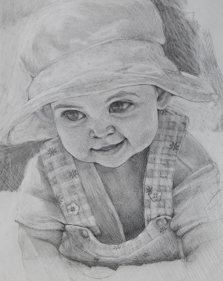 Pencil Portrait Drawing - Baby Meg by Jani Freimann