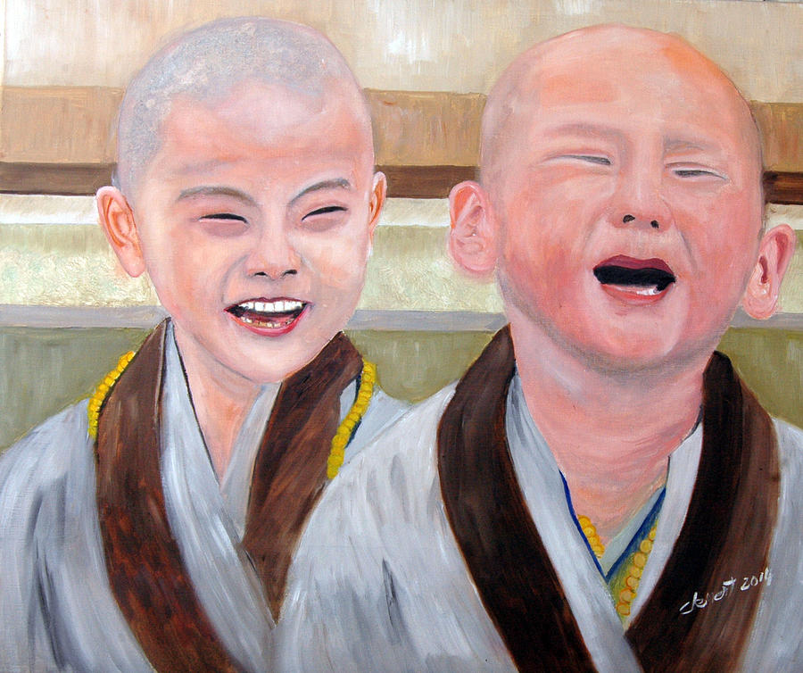 Baby Monk Series I - Laughing And Crying Painting