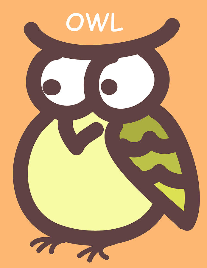Baby Owl Nursery Wall Art Digital Art