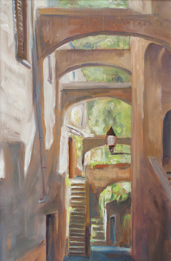 Italy Back Alley Narrow Street Light Summer Green Liguria Old House Traditional Village Sun Sunny Bright Painting - Back Alley by Marco Busoni