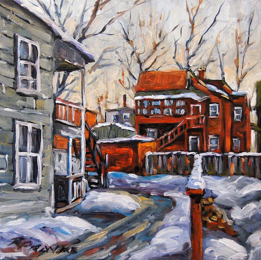 Urban Painting - Back Lanes 02 Montreal By Prankearts by Richard T Pranke