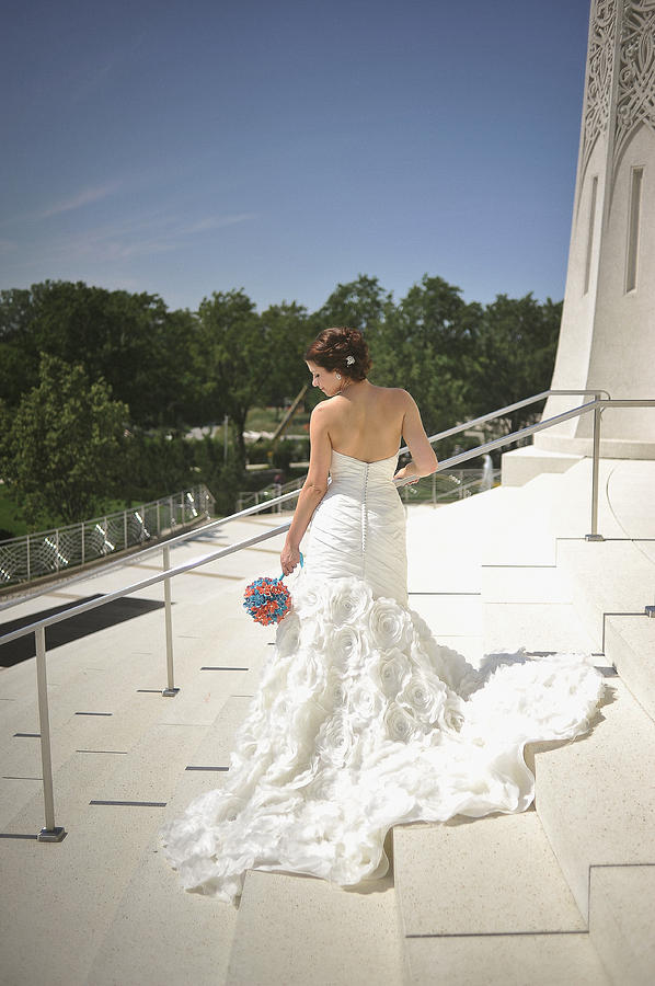 Back Of Bride At Bahai Temple Photograph