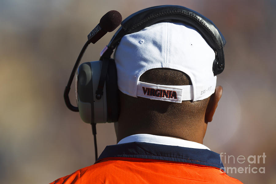 Mike London Photograph - Back Of Mike London Head With Headset Virginia Cavaliers by Jason O Watson