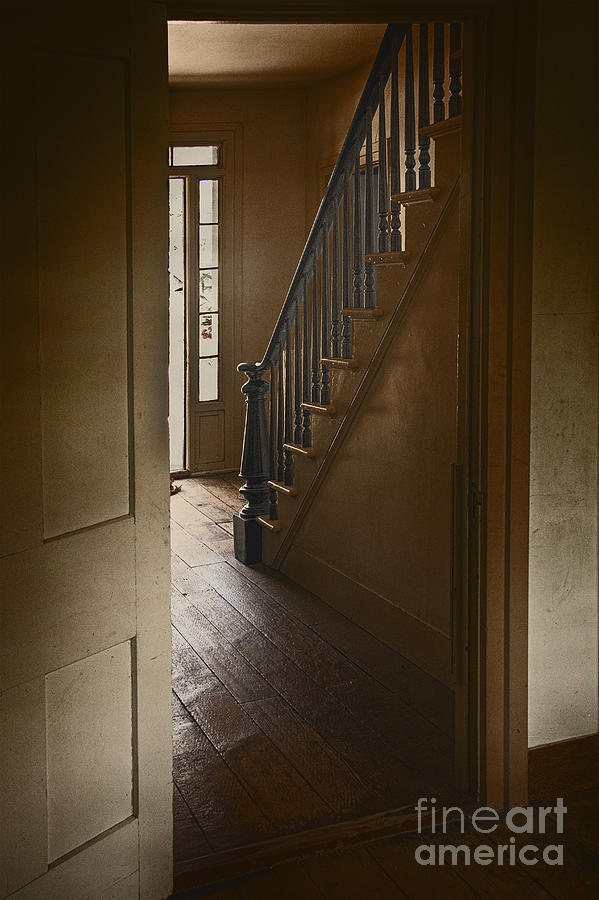 Stairs; Staircase; Side; View; Steps; Wood; Wooden; Details; Railing; Rail; House; Home; Inside; Indoors; Banister; Up; Down; Painted; Dark; Darkness; Shadows; Door; Doorway; Floor; Foyer; Hallway; Entrance; Scary; Creepy; Ominous; Mystery; Mysterious; Unknown Photograph - Back Stairway by Margie Hurwich