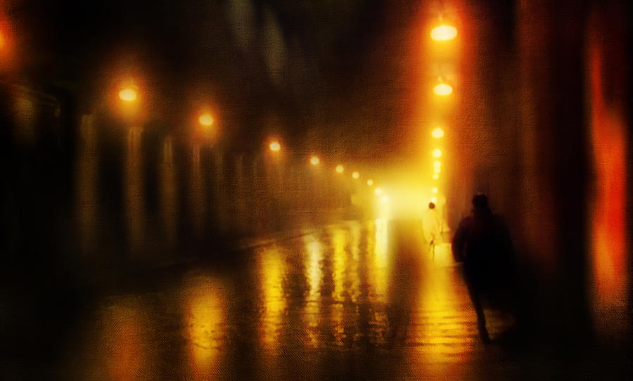 Town Photograph - Back To The Past. Alley Of Light by Jenny Rainbow