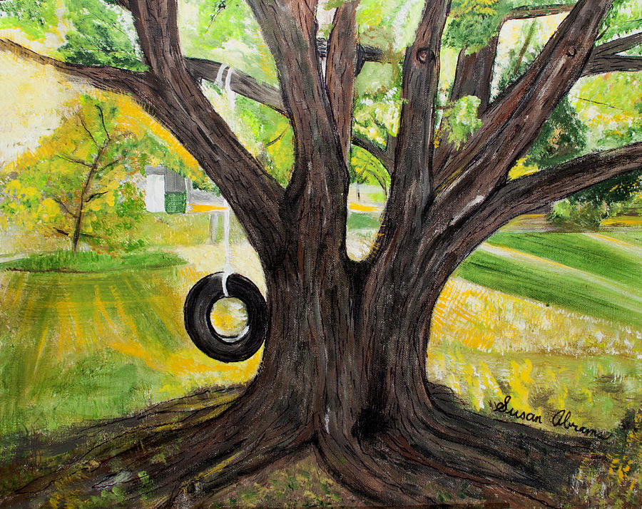 Backyard Tree Memories Painting  - Backyard Tree Memories Fine Art Print