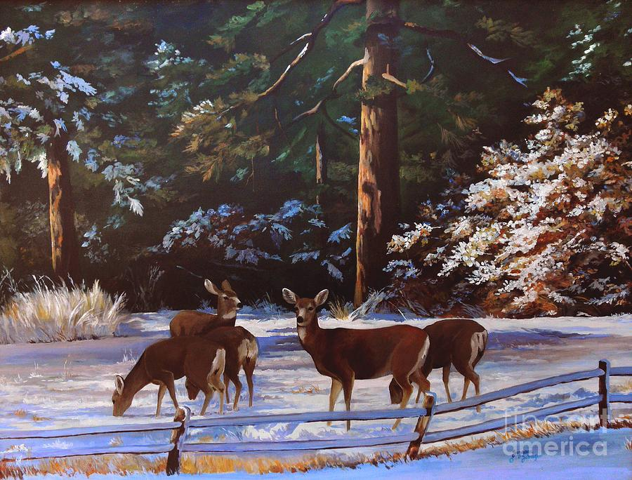 Deer Painting - Backyard Visitors by Suzanne Schaefer