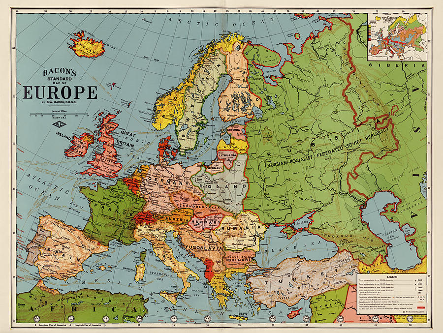 Europe Drawing - Bacons Standard Map Of Europe - Circa 1920 by Blue Monocle