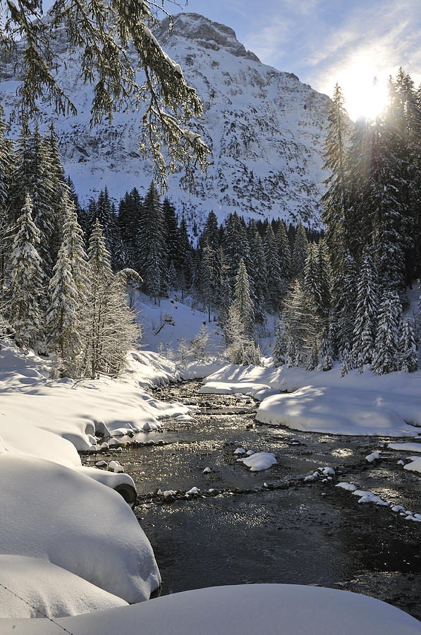 Baergunt Valley Kleinwalsertal Austria In Winter Photograph  - Baergunt Valley Kleinwalsertal Austria In Winter Fine Art Print