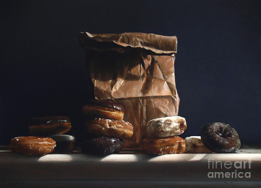 Bag Of Donuts Painting  - Bag Of Donuts Fine Art Print