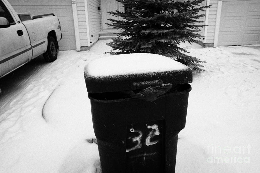 bag sticking out of litter waste bin covered in snow outside house in Saskatoon Saskatchewan Canada Photograph  - bag sticking out of litter waste bin covered in snow outside house in Saskatoon Saskatchewan Canada Fine Art Print
