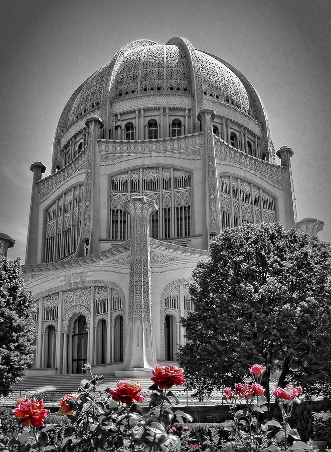 Bahai Temple Wilmette In Black And White Photograph
