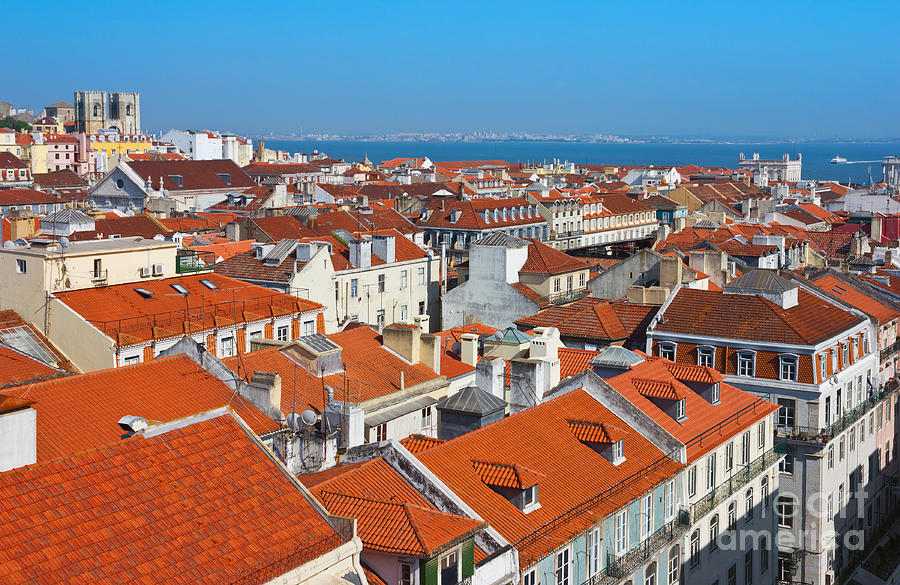 Baixa City Center Of Lisbon Panoramic View Photograph