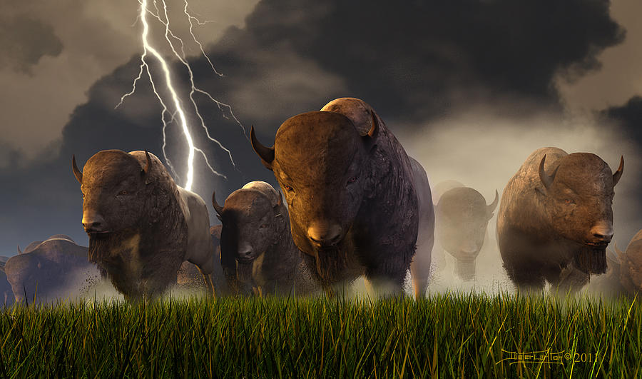Buffalo Digital Art - Balance Of Power by Dieter Carlton