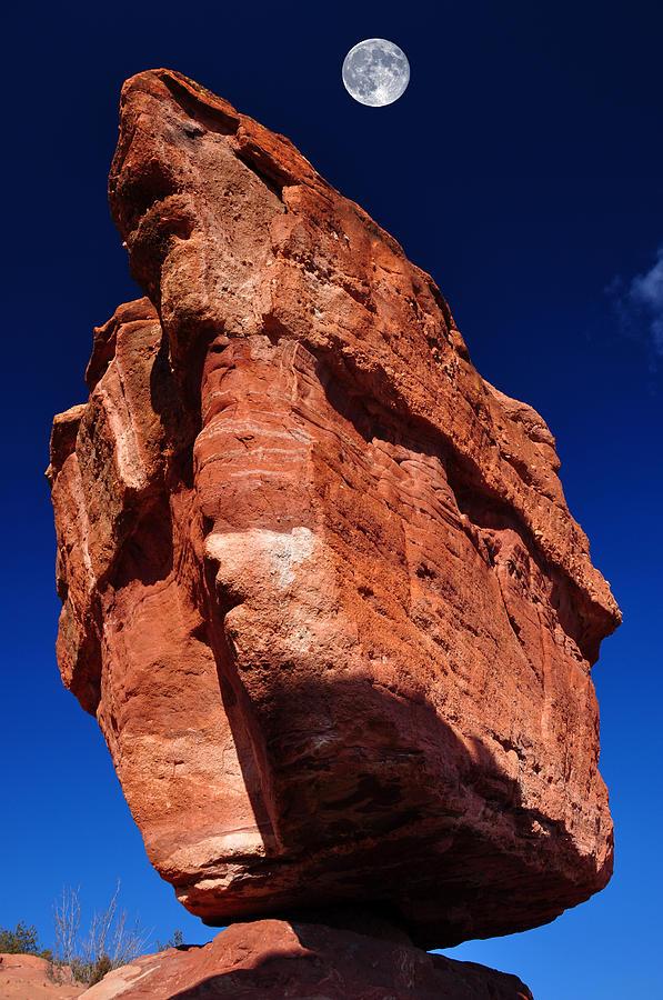 Awe Photograph - Balanced Rock At Garden Of The Gods With Moon by John Hoffman