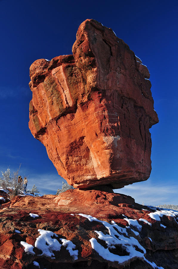 Balanced Rock At Garden Of The Gods With Snow Photograph By John Hoffman